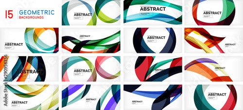 Fotomural  Set of geometric waves, circles and stripes on white background