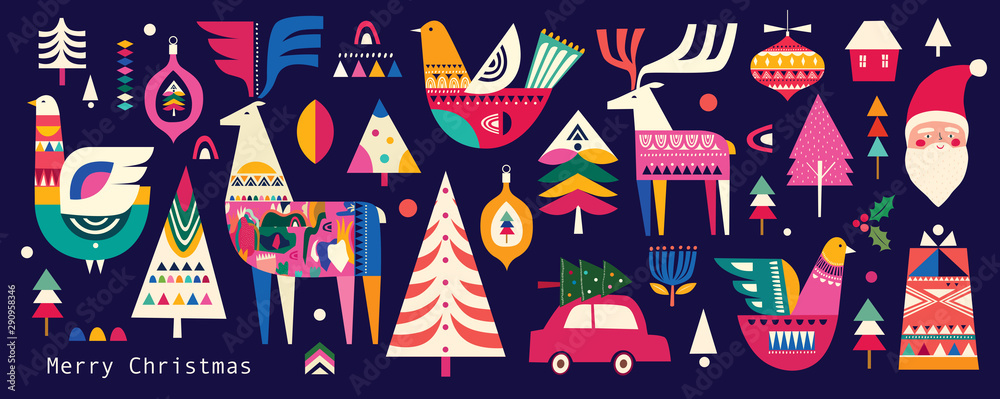 Fototapety, obrazy: Christmas pattern in Scandinavian folk style with deer, Christmas tree, bird and other