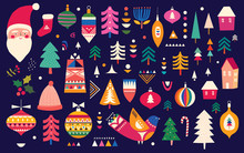 Christmas Pattern In Scandinavian Folk Style With Deer, Christmas Tree, Bird And Other