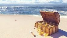 An Open Wooden Pirate Chest Fi...