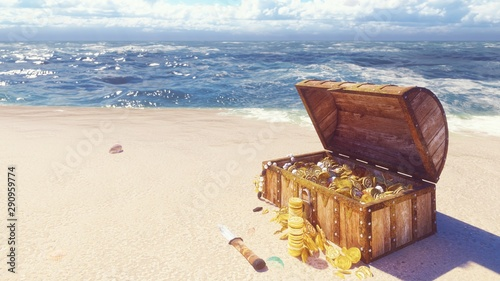 Cuadros en Lienzo An open wooden pirate chest filled with gold coins and diamonds lies on the shore of a lost tropical island