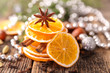 orange and spices- cinnamon, anise, nuts and dried oranges
