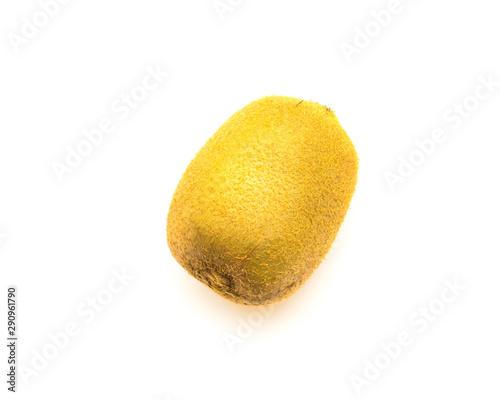 Studio shot one raw whole kiwi fruit isolated on white