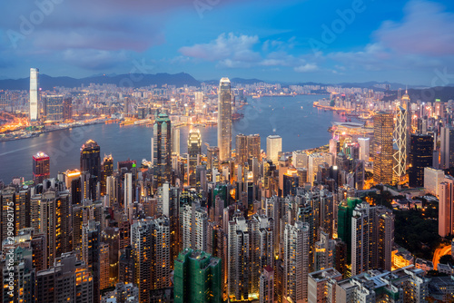Hong Kong in Kowloon area skyline view from Victoria Peak in Hong Kong Poster Mural XXL