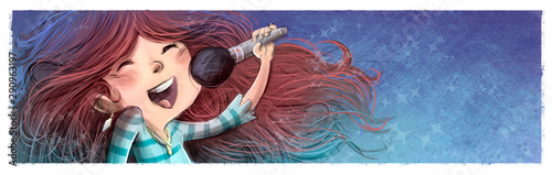 Fototapeta  Girl singing with microphone in hand