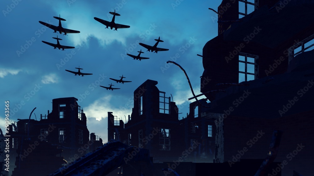 Fototapeta An Armada of military aircraft flies over the ruins of a ruined deserted city. 3D Rendering