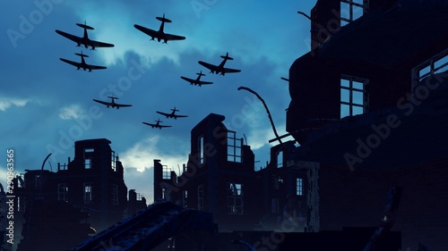 Fotomural An Armada of military aircraft flies over the ruins of a ruined deserted city