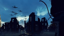 An Armada Of Military Aircraft Flies Over The Ruins Of A Ruined Deserted City. 3D Rendering
