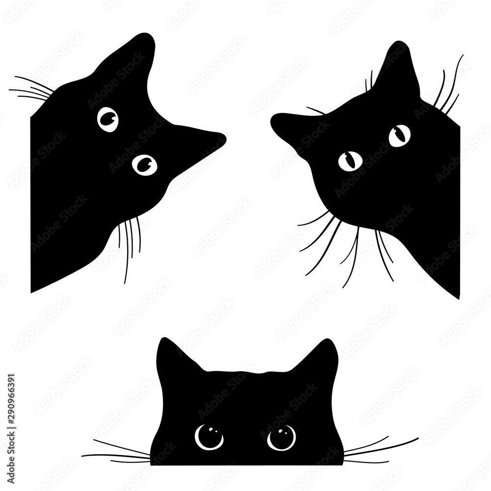 Fototapety, obrazy: Set of black cats looking out of the corner. Collection of cat faces that spy on you. Playing pets. Tattoo.