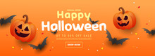 Happy Halloween Greeting Sale Banner With Bats, Pumpkins, On An Orange Background. Can Be Used For Banner, Poster, Voucher, Offer, Coupon, Holiday Sale.