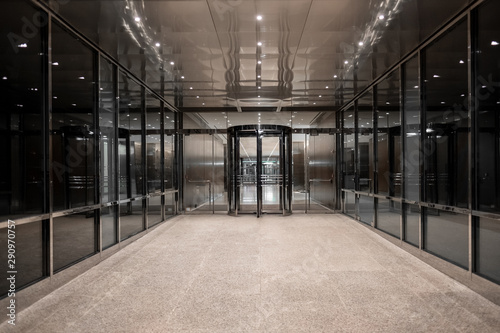 Fotografering interior of modern building business office hall city study lawer metal steel co