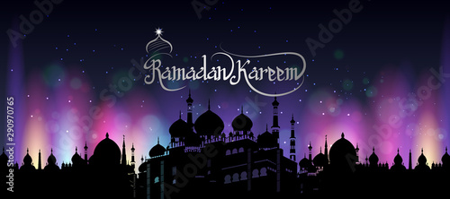 Fotografia  easy to edit vector illustration of Islamic celebration background with text Ram