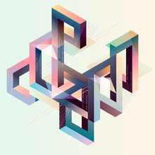 Abstract Multicolor Impossible Shape