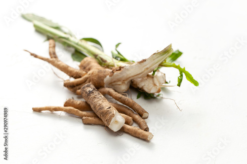 Crude chicory root (Cichorium intybus) with leaves on a white background Wallpaper Mural