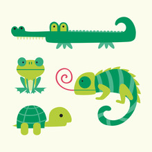 Reptiles Vector Illustration O...