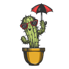 Cartoon Cactus Character In Sunglasses With Umbrella Engraving Sketch Vector Illustration. Tee Shirt Apparel Print Design. Scratch Board Style Imitation. Black And White Hand Drawn Image.