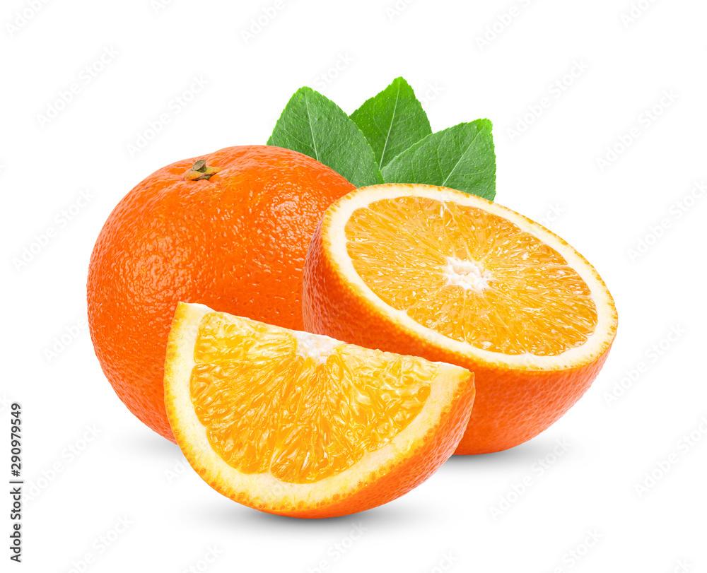 Fototapeta orange citrus fruit with leaf  isolated on white background