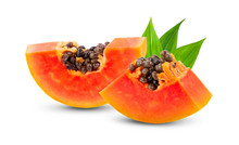 Piece Of Ripe Papaya Fruit With Seeds Isolated On White Background