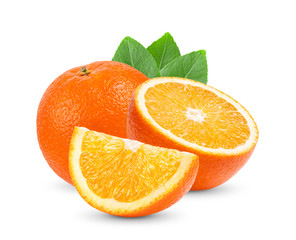 orange citrus fruit with leaf  isolated on white background