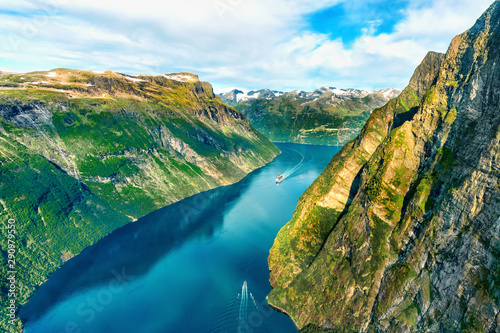 Poster Northern Europe Beautiful aerial landscape view Geiranger fjord in More og Romsdal county in Norway.