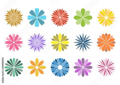 花 イラスト アイコン セット デザイン カラー