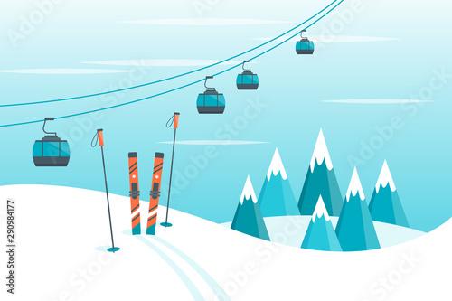 Cuadros en Lienzo  Ski equipment, snowboard, trail, Alps, fir trees, falling snow, mountains panoramic background, flat vector illustration