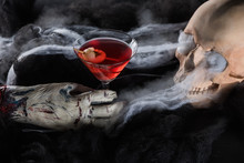 Spooky Human Skull With Red Co...