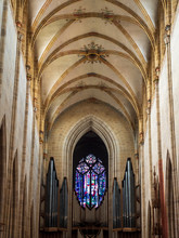 Ulm, Germany - Jul, 20th 2019: Inside Of Ulm Minster, Is A Lutheran Church Located In Ulm, State Of Baden-Wuerttemberg, With A Steeple Measuring 161.5 Meters