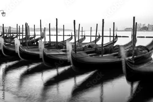 Fototapeta Gondolas by Saint Mark square at sunrise, Venice, Ita B&Wly obraz na płótnie