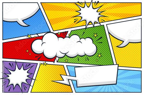 Fototapeta  comic strip speech bubble and expressions template