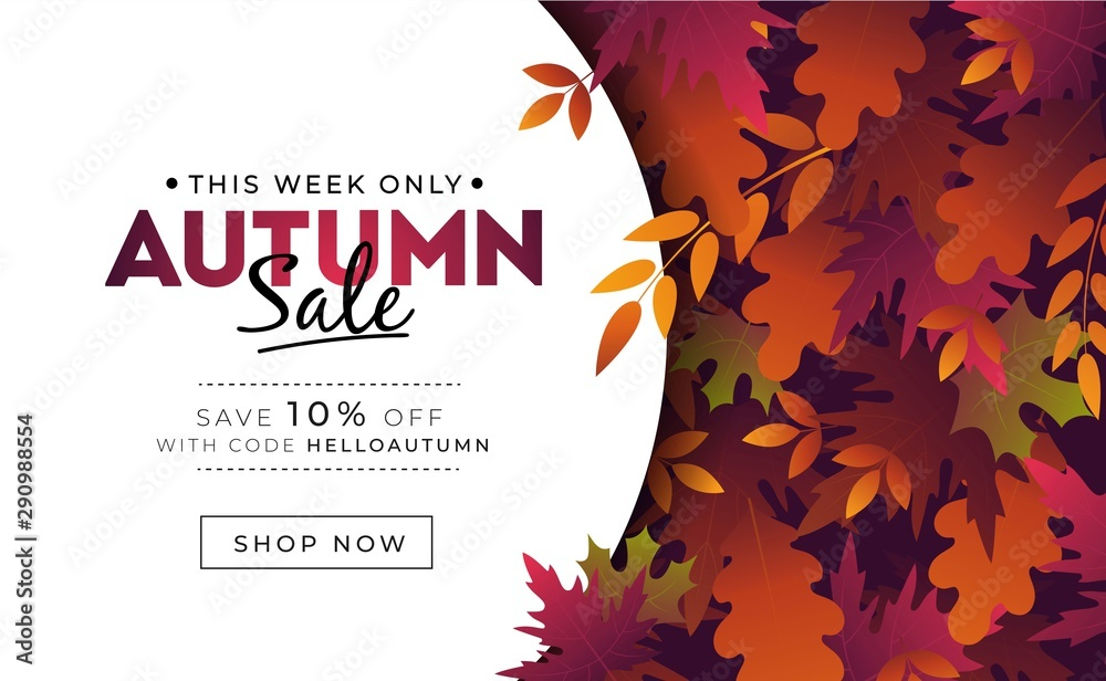 Fototapety, obrazy: Sale banner with foliage for autumn promotions vector illustration. Profitable proposition save 10 percent this week only. Landing page with fall leaves and shop now button. Advertising concept