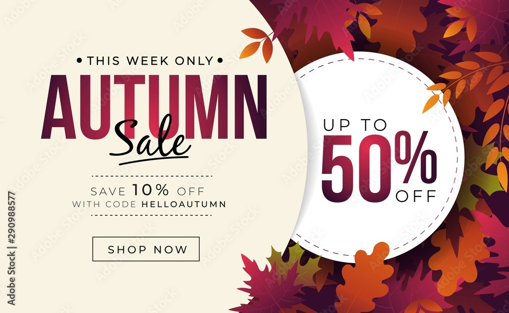 Fototapeta Big sale banner with colorful autumn leaves vector illustration. Landing page template with fall foliage and profitable discount flat style design. Up to fifty percent off with code helloautumn