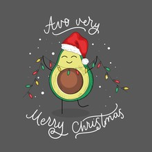 Avo Very Merry Christmas Festive Greeting Card Vector Illustration. Template With Cute Small Avocado Character Holding Colorful Garland Flat Style Design. Xmas Holidays Concept. Isolated On Dark