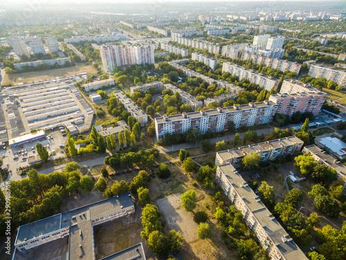 Obraz Aerial view to residential area in Kharkiv, Ukraine - fototapety do salonu