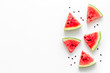 canvas print picture - Slices of watermelon on white background top view mock up