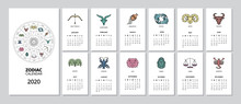 2020 Monthly Zodiac Calendar With Star Sign Page For Every Month