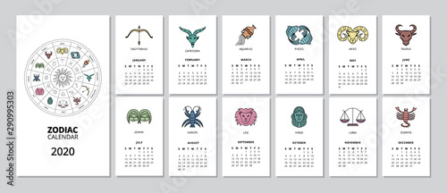 2020 monthly Zodiac calendar with star sign page for every month Canvas Print