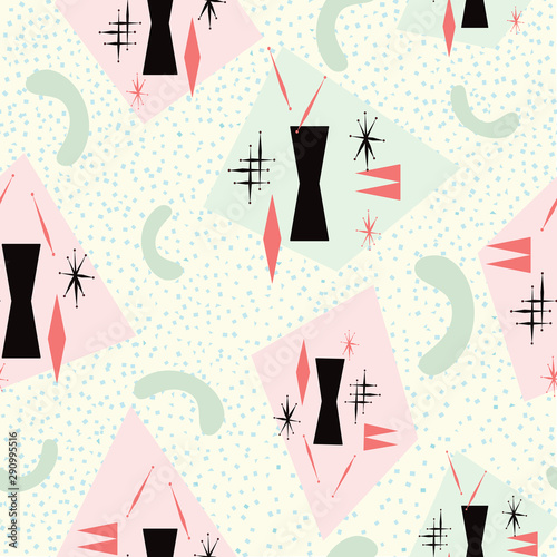 Mid century modern seamless pattern inspired from 1950's atomic poster art Wallpaper Mural
