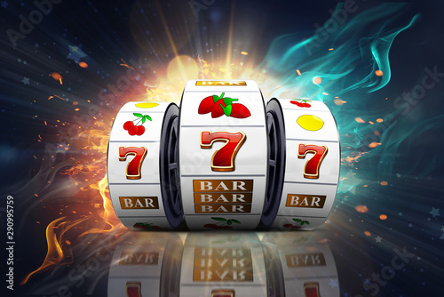 Foto Illustration, Casino element isolation of the slot machine with the lucky jackpot isolation over fire effect and abstract background