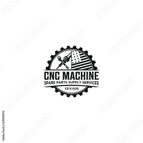 Fotografía  CNC machine service sparepart logo design