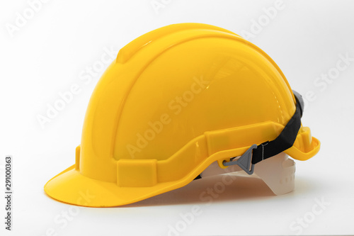 Carta da parati  Yellow safety helmet side view  isolated on white background