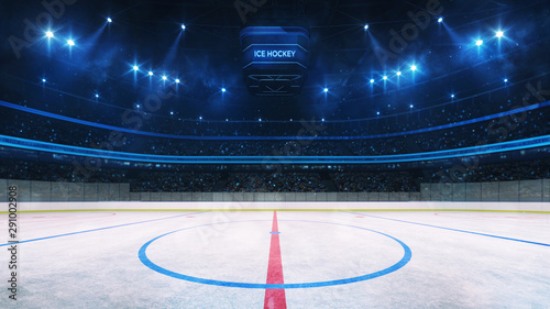 Photo Ice hockey rink and illuminated indoor arena with fans, face off circle view, pr