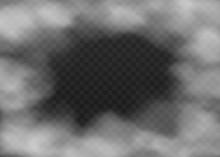 Smoke Cloud Fog Frame Isolated On Dark Transparent Background