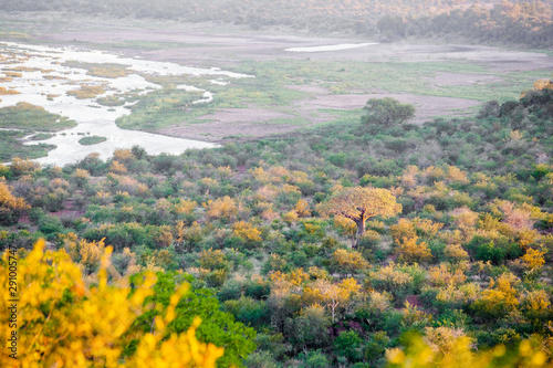 Foto auf Leinwand Elefant Sunset over the Olifants river in the Kruger National Park, South Africa.