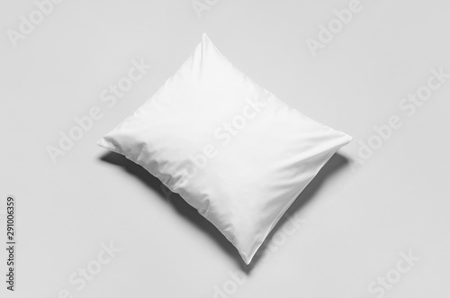 Stampa su Tela  White blank pillowcase mockup. Grey background.