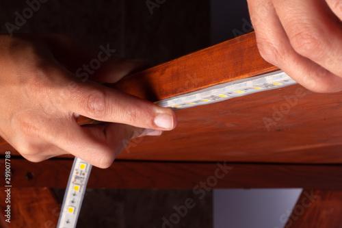 Fényképezés  installation of led strip,installation of decorative light