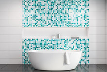 White And Blue Mosaic Bathroom Interior With Tub