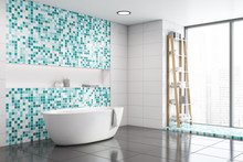 White And Blue Mosaic Bathroom Corner With Tub