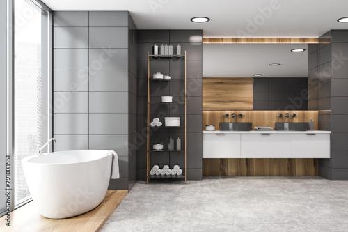 Gray tile and wooden bathroom interior Wallpaper Mural
