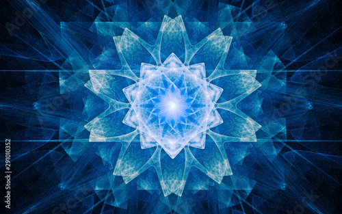 Obraz fantastic abstract symmetrical flower with petals consisting of a variety of geometric shapes of different colors on a black background - fototapety do salonu
